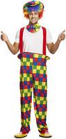 Rainbow Clown Circus Party Mens Fancy Dress Costume & Hat Outfit M-L P9440