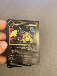 Carte Pokemon Gold Dracaufeu / Charizard Metal Black Card Fan Made / EX GX