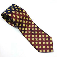 BRIONI 100% Silk Tie Glossy Yellow Red Blue Metallic Geometric Hand Made Italy