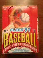 1991 FLEER Baseball Wax Box 36 Sealed Packs Unopened