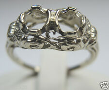 Vintage Art Deco Ring Setting 14K White Gold Ring Size 7.25 UK-O Hold 2-4.5MM