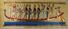 "9 Pharaoh Gods Kings On Boat  Original Hand Painted Papyrus 32""X12""(80x30 Cm)"