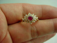 14KT Y/G LADIES RUBY & DIAMOND CLUSTER RING E5529-3