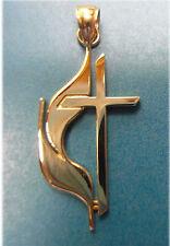 14K Gold Large Methodist Cross & Flame Pend