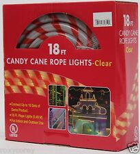 Christmas 18 ft Red & White Candy Cane Tube Rope Clear Lights NIB