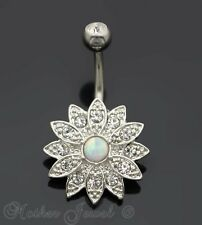 SILVER SURGICAL STEEL OPAL CLEAR FLOWER CLUSTER BELLY BUTTON NAVEL RING