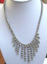 Ancien collier bijou vintage couleur argent pampille cristaux facette diamant 56