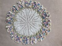"Vintage Antique Hand Crocheted Lace Doily 9"" Colorful Pastel Pansies 1940's"