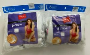 2 Hanes 6-Pack Women Crew Socks 5-9 White w/ Colored Heels (Slightly Imperfect)