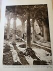 British solider among the ruins of Arras Cathedral - WWI ANTIQUE PRINT