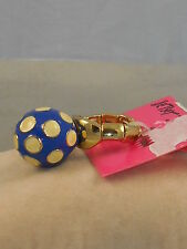Betsey Johnson Pretty Polka Dots Blue Button Enamel Orbital Stretch Ring