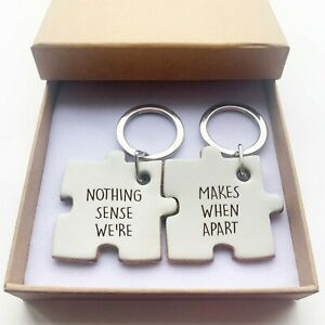 Pair of Keyrings for Couple His & Hers Key fob Valentines, Anniversary, Birthday