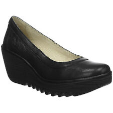 Fly London YANO838FLY Leather Slip-On Wedges Womens Shoes