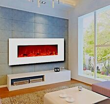 "50"" Electric Fireplace Wall Mounted White w/Heat 400 sq ft Touchstone 80002"