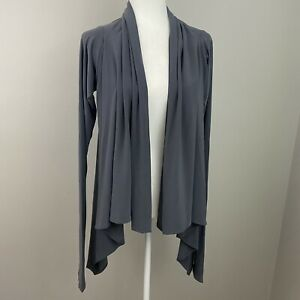 Norma Kamali Timeless Open Front Cardigan Charcoal  XS Gray Designer