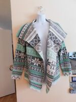 Cardigan - Sweater - Size XLarge (size 12-14) Knit - Green, Grey, White - NEW