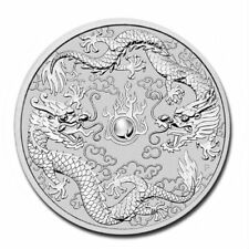 AUSTRALIA DOUBLE DRAGON – 2019 1 OZ PURE SILVER BU COIN IN CAPSULE – PERTH MINT