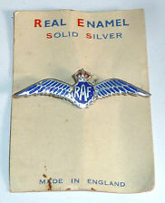 A VINTAGE SILVER RAF SWEETHEART BROOCH WITH RED & BLUE ENAMEL