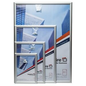 A4 A3 A2 A1 Snap Frame Front Loading Aluminum Silver Poster Certificate Frame