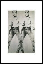 Andy Warhol DOUBLE ELVIS Poster Stampa d'Arte Immagine Nella Cornice in Alluminio Nero 36x28cm