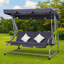 Heavy duty Metal 3 Seater Covered Swing Chair Hammock Bed w/ Pillows