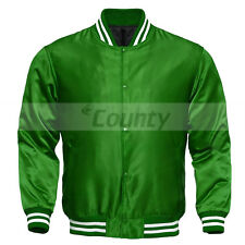 Letterman Baseball College Varsity Quality Bomber Jacket Sports Wear Green Satin