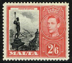 SG 229 MALTA 1938 - 2/6d BLACK & SCARLET - MOUNTED MINT