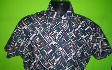 Vtg 1970s Sears Kings Road Green Brown Geometric Disco Lounge poly Shirt - sz M