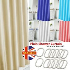 BATHROOM LONG PLAIN FABRIC SHOWER CURTAIN WATERPROOF WITH 12 HOOKS RING SET