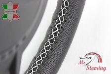 FOR OPEL VIVARO VAN 01-13 BLACK LEATHER STEERING WHEEL COVER, WHITE 2 STIT