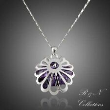 White Gold Plated Made W/Swarovski Austrian Crystal Water Drop Pendant Necklace
