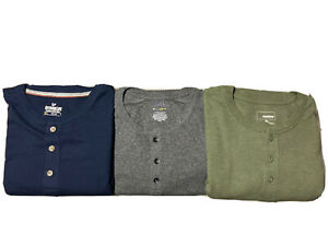 LOT OF 3 NWOT MEN'S APT. 9 SONOMA OUTDOOR LIFE LONG SLEEVE HENLEY'S GRAY SIZE XL