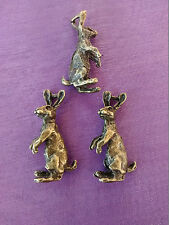 5 x LARGE BRONZE 3D MOON GAZING HARE CHARMS PENDANT 30mm PAGAN WICCAN