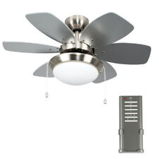 Modern Remote Control 3 Speed Silver  Chrome 6 Blade Ceiling Fan with Light NEW