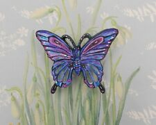 Large Forget-Me-Not BLUE BUTTERFLY BROOCH Blue Butterfly Lapel Pin-HAND PAINTED