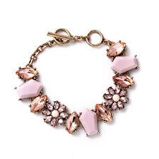 B454 Forever 21 Pink Peach Sakura Crystal Gemstone Prom Bridal Bracelet US