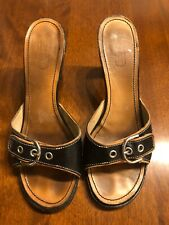 Coach Sandals Size 8 Womens Heeled Leather Black
