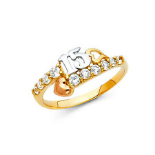 14k Real 3T Solid Gold Quince 15 CZ Hearts Quinceañera Ring Oro Solido Anillo