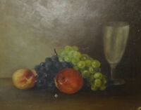 Antique 19th Century Fruit with Glass Still Life Oil Painting O/C Unframed 16x12