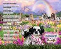 Rainbow Bridge Poem Shih Tzu Dog Memorial Picture Personalized w/Dog's Name