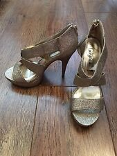 SIZE 5 GOLD SPARKLY GLADIATOR HEELS SHOES/SUMMER/HOLIDAY/TOWIE/CLUBBING/IBIZA