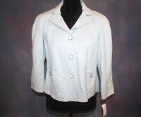 Women's Francis P. Blue & White Button Down Shoulder Pads Jacket Size 12P Blazer