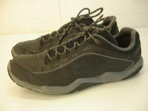 Men's 10.5 M Merrell Traverso Black Leather Hiking Shoes Sneakers Lace-Up Casual