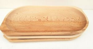 """Wooden serving tray 17""""wide medieval serving plate beech wood BBQ plate set of 3"""