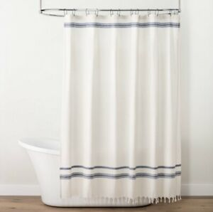 Hearth and Hand Embroidered Stripe Cream & Blue Fringe Hem Shower Curtain NWT