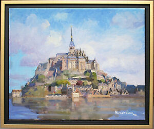 MONT SAINT-MICHEL~NORMANDY~LISTED ARTIST~ORIGINAL OIL PAINTING BY MARC FORESTIER