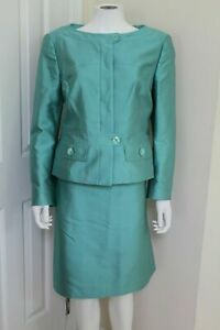 Escada Skirt Suit Jacket Blazer size 42 12 Large  Silk Gorgeous Teal Color