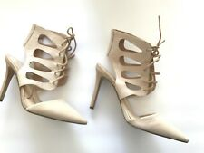 Jessica Simpson Cecerre Women's Leather Nude Beige Lace Up Vamp Edgy Pump 6.5