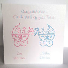Personalised Baby Twins Birth Card