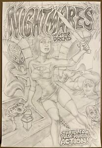 Original Comic Cover Art by Jake Jacobs Pencil Commission Pinup Warrior Cat Girl